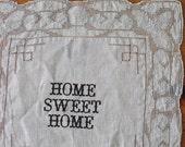 HOME SWEET HOME Vintage Handkerchief Card
