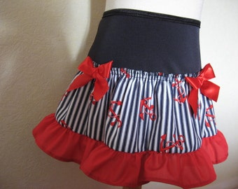 Sequoia,Black,white,red,Blue anchor & stripes  Design Retro,Punk Festival Mini Skirt