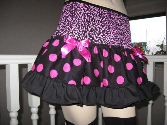 Sequoia Black  Pink Spots, Leopard Design Festival Mini Skirt