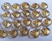 Hand painted glass gems party favors  GOLD double wedding  HEARTS  HEART