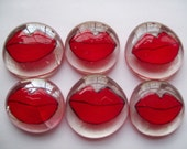 Hand painted large glass gems RED LIPS red lip kiss kisses party favors