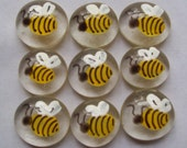 Hand painted glass gems party favors  mini art   BUMBLE BEES  BEE set of 50