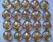 Hand painted glass gems party favors mini art gold and black  FLEUR-DE LIS