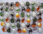 Hand painted glass gems party favors set of 50  HALLOWEEN MIX