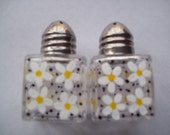 Hand painted mini salt and pepper shakers  party favors  weddings  daisy daisies