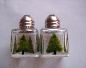 Handpainted mini salt and pepper shakers  party favors  christmas tree