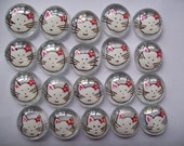 Hand painted Glass Gems party favors  white cat faces  , white kitty cats with pink flower