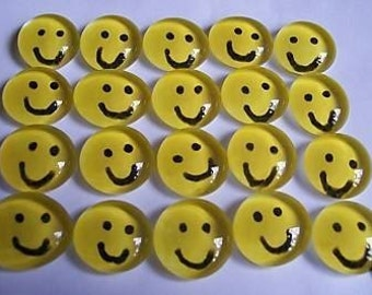 HAPPY FACES smiley face hand painted glass gems party favors wishing stones
