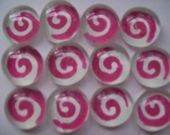 Swirls pink and white glass gems mosaic tile party favors mini art