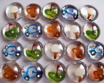 GOLF SET  hand painted glass gems party favors mini art