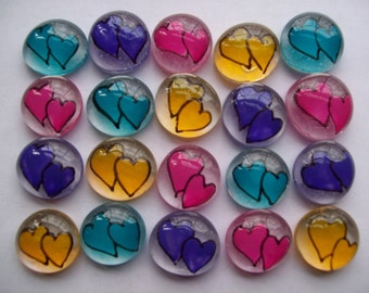 Hearts assorted colors double wedding heart party favors mini art painted glass gems