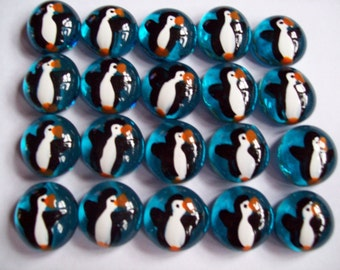 25 Hand painted glass gems party favors art penguins on blue penguin