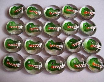Glass gems handpainted party favors  Alligators CROCODILE GATORS