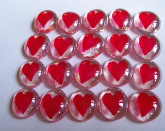 Hand painted glass gems party favors Valentine's Day  RED HEARTS  HEART set of 50