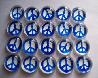 Hand painted glass gems party favors  mosaic tile mini art blue peace signs on white
