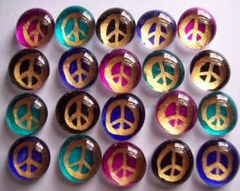 Hand painted glass gems mosaic tile PEACE SIGNS  peace sign assorted colors