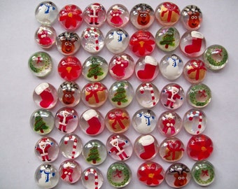 Hand painted glass gems party favors set of  100  CHRISTMAS MIX  christmas decorations