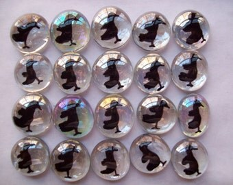 Hand painted glass gems party favors  art   CROW CROWS RAVEN