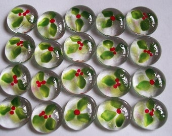 hand painted glass gems holly with berries  christmas party favors  set of 50