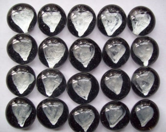 Hearts Handpainted glass gems mosaic tile party favors silver hearts on black