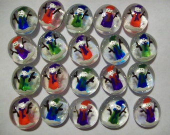 Snowmen Hand painted glass gems party favors christmas snowman snowmen in coats