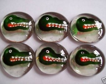 Alligators Hand painted glass gems party favors mini art alligators alligator gator