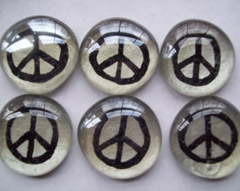 Peace signs Hand painted Glass Large Gems Mosaic Tile  Black Peace Signs on silver