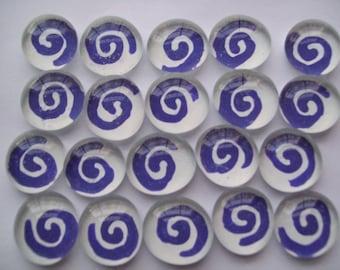 Glass Gems Mosaic Tile  purple swirls on white