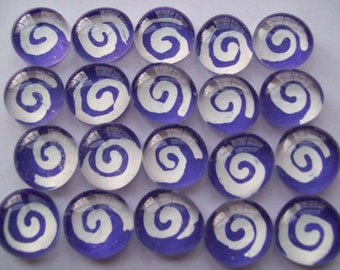 Glass Gems Mosaic Tile  white swirls on purple