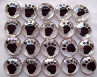Hand painted Glass Gems  party favors art   paw prints  paw print