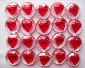 Hand painted glass gems party favors  hand painted hp infinity symbol on red heart
