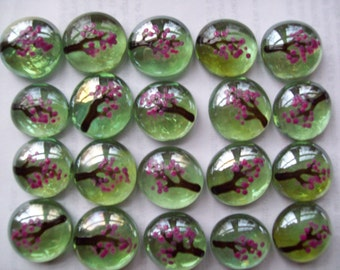 Hand painted glass gems party favors mini art cherry blossoms on green gems