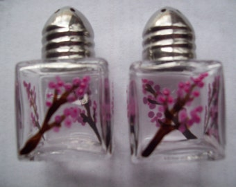 Handpainted mini salt and pepper shakers cherry blossoms