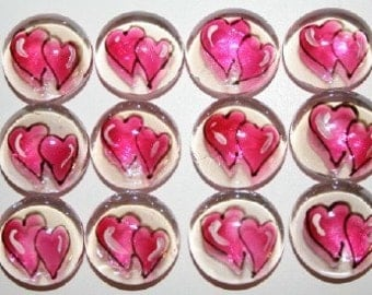 Hand painted glass gems party favors set of 100 fushia pink wedding hearts