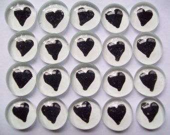 Hearts Handpainted glass gems mosaic tile party favors weddings black hearts on white
