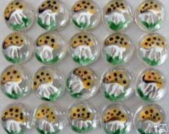 Hand painted glass gems party favors art merry mushrooms mushroom