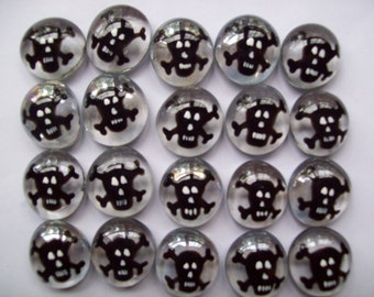 Skull Handpainted Glass Gems party favors  black skull and cross bones with white accents