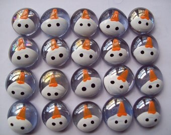 Hand painted Glass Gems party favors Christmas  snowman faces on light purple gems