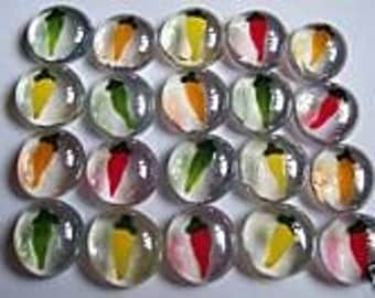 Hand painted glass gems party favors art  CHILI pepper CHILLI PEPPERS
