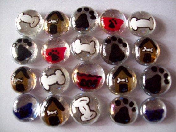Hand painted glass gems party favors dog mix  dog house bone paw print bowl