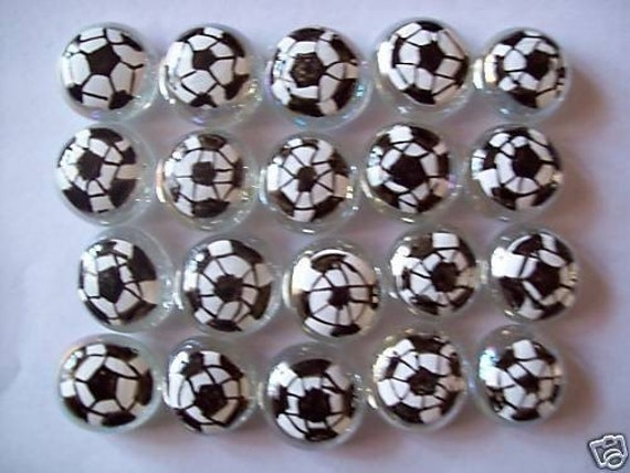 Hand painted glass gems party favors SOCCER BALLS BALL