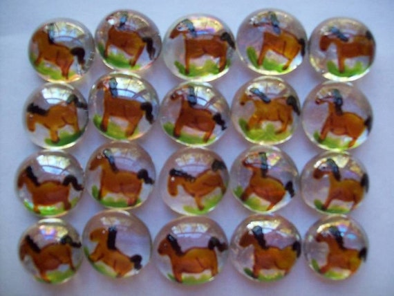 Handpainted Glass Gems party favors horse horses  painted glass art