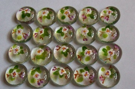 Hand painted glass gems party favors  APPLE BLOSSOMS  apple blossoms  flowers  wedding