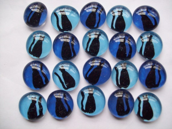 CAT  CATS Hand painted glass gems party favors mosaic tile Black cats on blue