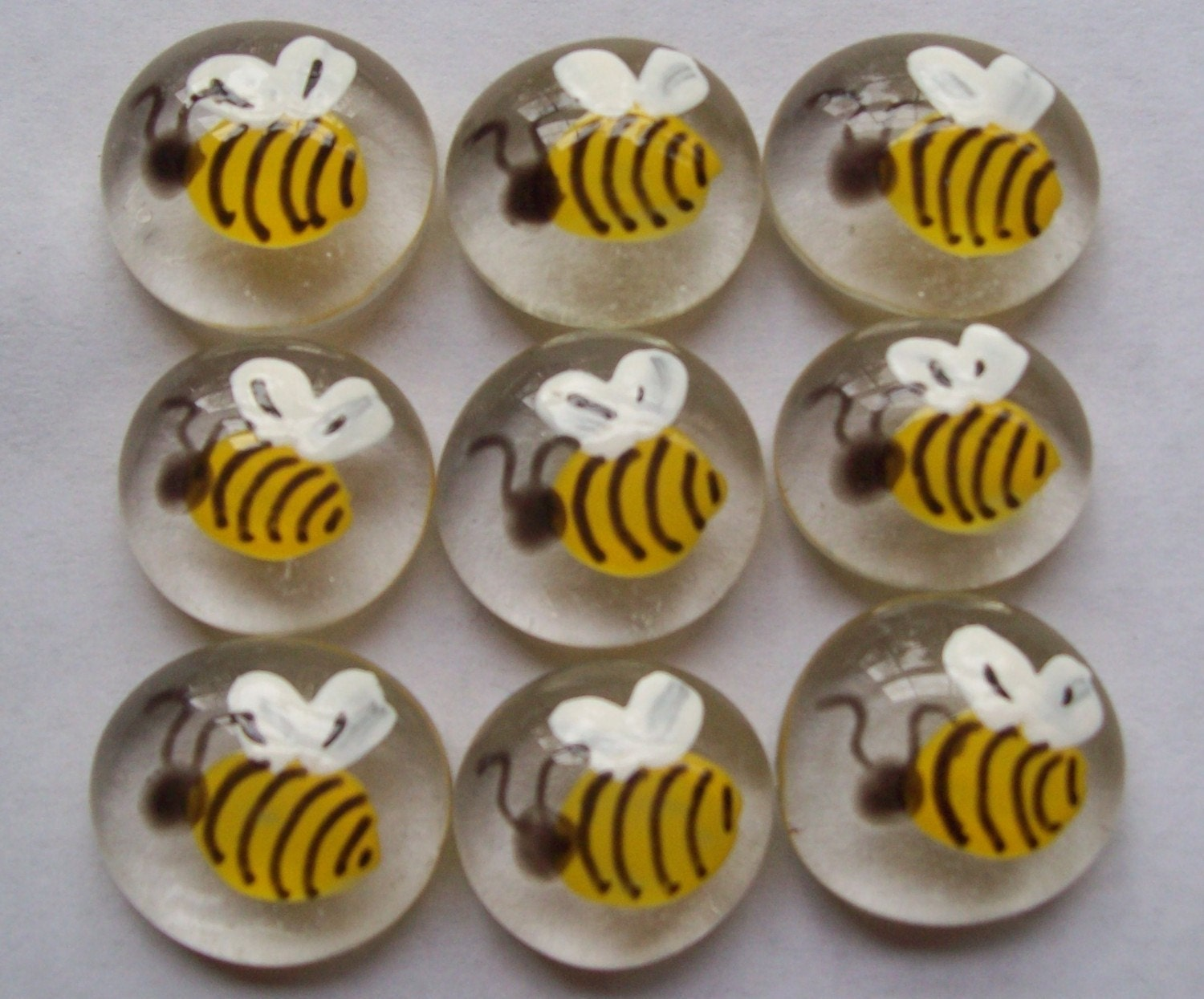 Hand Painted Glass Gems Party Favors Mini Art BUMBLE BEES