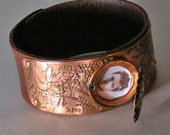 Leather cuff with etched copper and locket ,statement, gift