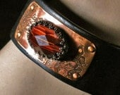 Leather cuff with copper and red tiger eye stone ,statement, gift