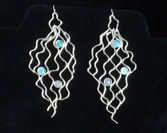 Sterling silver fishnet design earrings with blue  lab opals, statement, dangle, gift