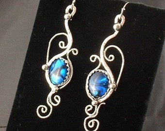 Handmade sterling silver filigree earrings with blue paua shell ,dangle ,statement, gift