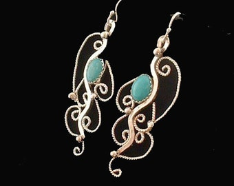 Sterling silver earrings filigree with turquoise stones ,dangle ,statement, gift
